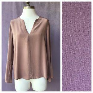 Silk Lavender Brown Blouse S